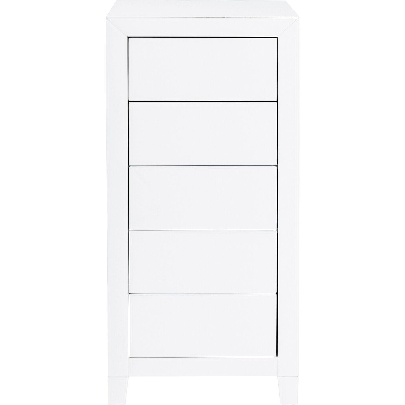 Hochkommode Luxury Push 5 Schübe Weiß